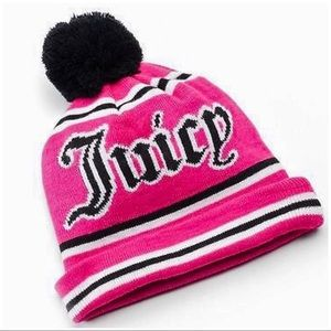 JUICY COUTURE Pink Knit Pom Pom Logo Beanie Hat